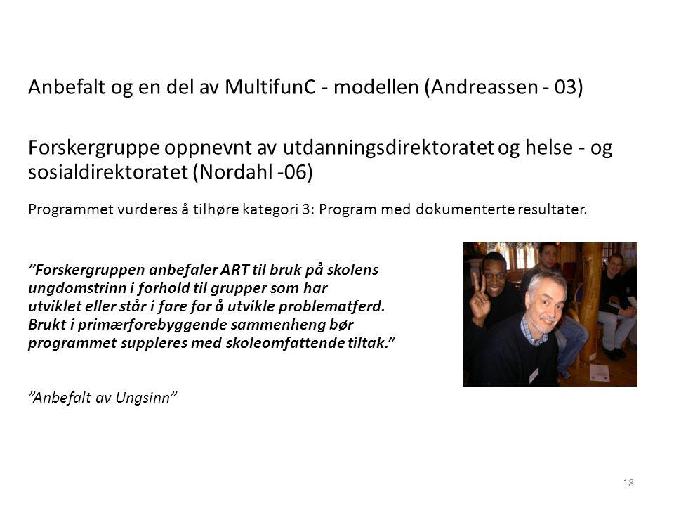 Anbefalt og en del av MultifunC - modellen (Andreassen - 03) Forskergruppe oppnevnt av utdanningsdirektoratet og helse - og sosialdirektoratet (Nordah