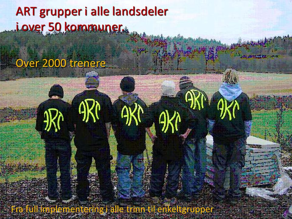 ART grupper i alle landsdeler i over 50 kommuner. Over 2000 trenere ART grupper i alle landsdeler i over 50 kommuner. Over 2000 trenere Fra full imple