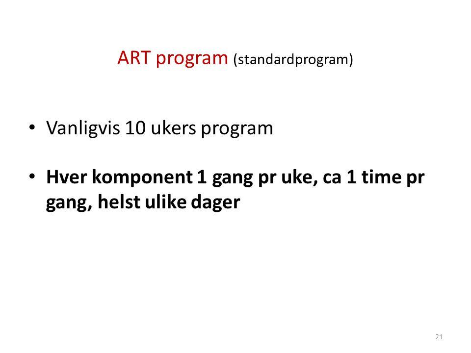 ART program (standardprogram) • Vanligvis 10 ukers program • Hver komponent 1 gang pr uke, ca 1 time pr gang, helst ulike dager 21