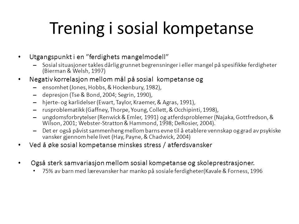 Sosial informasjons-bearbeidings modell (Crick and Dodge, 1994) En sosial samhandling kan forstås gjennom følgende 6 trinn: 1)Utvelgelse av sosiale signaler, 2)Tolking av sosiale signaler, 3)Klargjøring av mål, 4)Etablering av handlingsalternativer 5)Valg av respons 6) Gjennomføre respons.