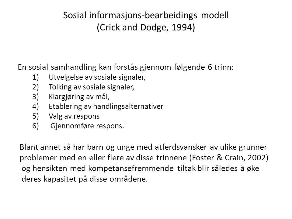 Sosial informasjons-bearbeidings modell (Crick and Dodge, 1994) En sosial samhandling kan forstås gjennom følgende 6 trinn: 1)Utvelgelse av sosiale si