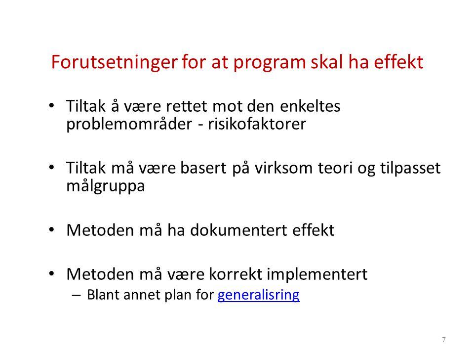 Forutsetninger for at program skal ha effekt • Tiltak å være rettet mot den enkeltes problemområder - risikofaktorer • Tiltak må være basert på virkso