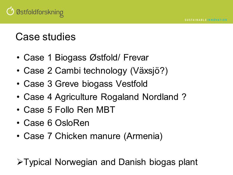 Case studies •Case 1 Biogass Østfold/ Frevar •Case 2 Cambi technology (Växsjö?) •Case 3 Greve biogass Vestfold •Case 4 Agriculture Rogaland Nordland ?