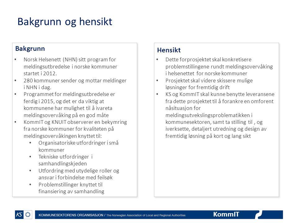 KommIT Bakgrunn og hensikt • Norsk Helsenett (NHN) sitt program for meldingsutbredelse i norske kommuner startet i 2012. • 280 kommuner sender og mott