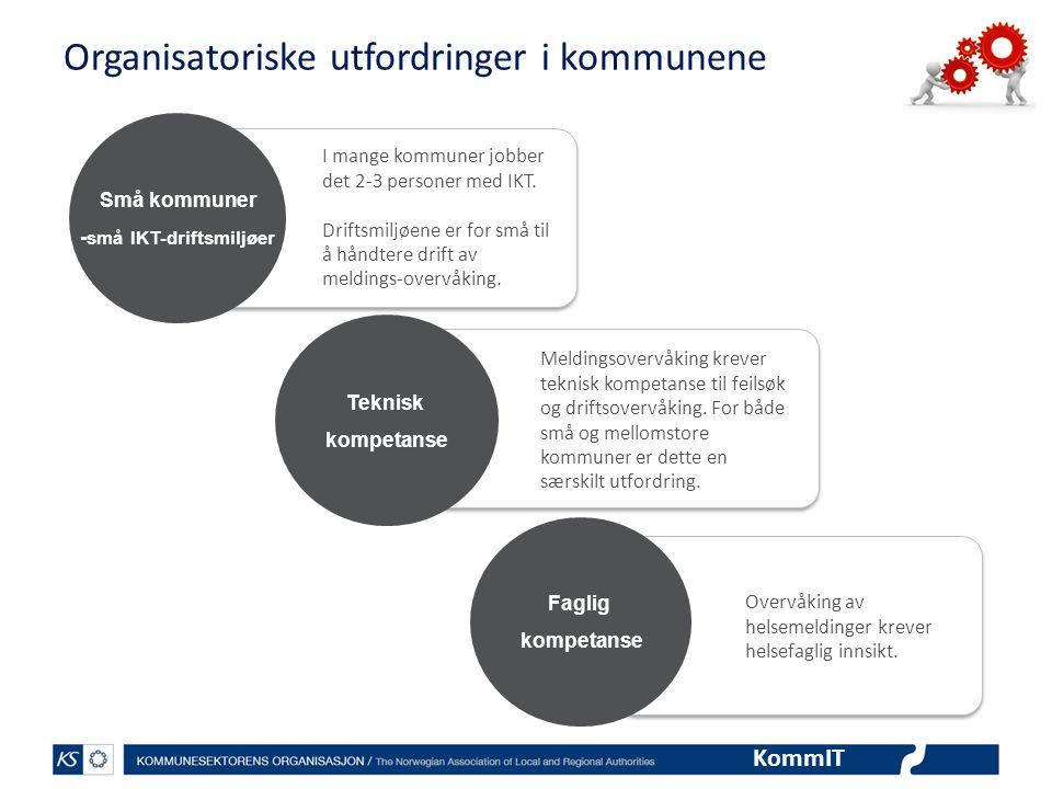 KommIT Organisatoriske utfordringer i kommunene Små kommuner - små IKT-driftsmiljøer Teknisk kompetanse Faglig kompetanse Overvåking av helsemeldinger