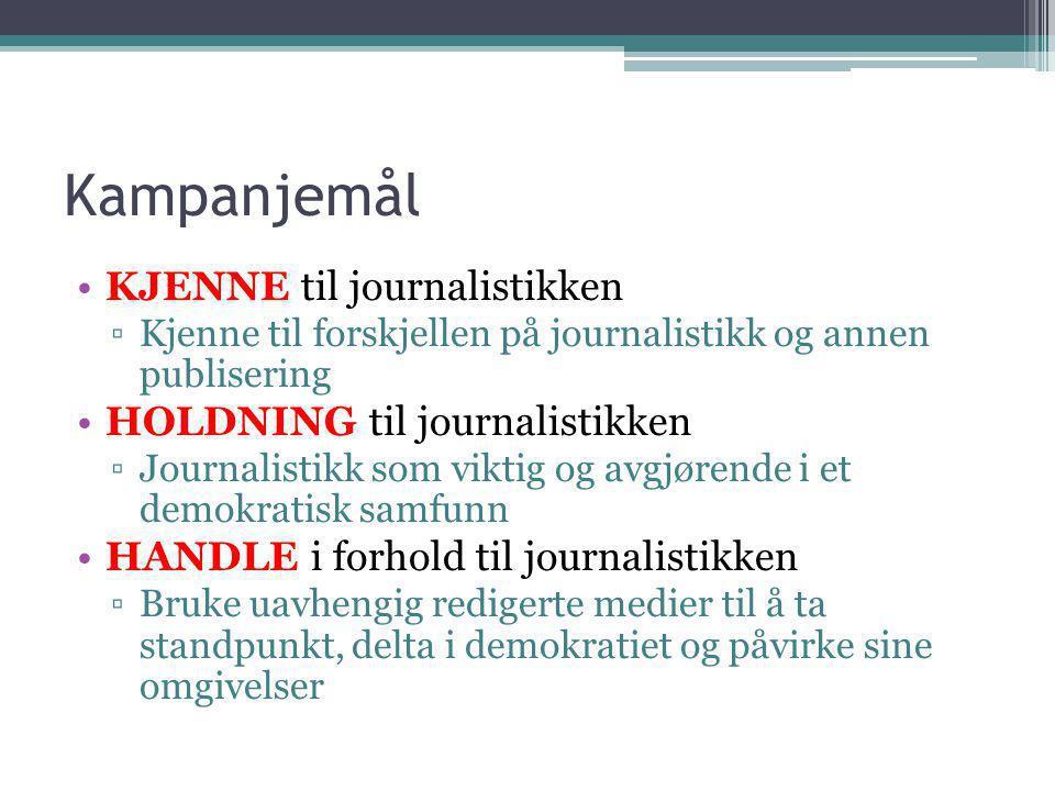 Kampanjemål •KJENNE til journalistikken ▫Kjenne til forskjellen på journalistikk og annen publisering •HOLDNING til journalistikken ▫Journalistikk som viktig og avgjørende i et demokratisk samfunn •HANDLE i forhold til journalistikken ▫Bruke uavhengig redigerte medier til å ta standpunkt, delta i demokratiet og påvirke sine omgivelser