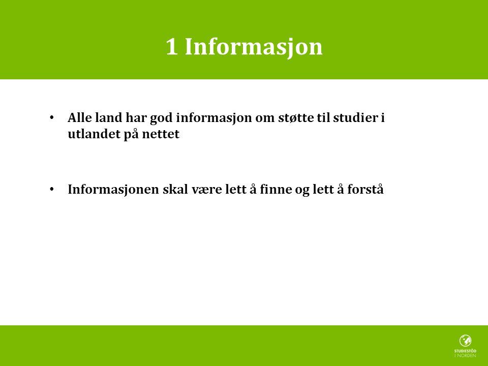 1 Informasjon • Alle land har god informasjon om støtte til studier i utlandet på nettet • Informasjonen skal være lett å finne og lett å forstå