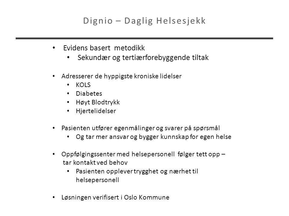 Dignio – Daglig Helsesjekk • Evidens basert metodikk • Sekundær og tertiærforebyggende tiltak • Adresserer de hyppigste kroniske lidelser • KOLS • Dia