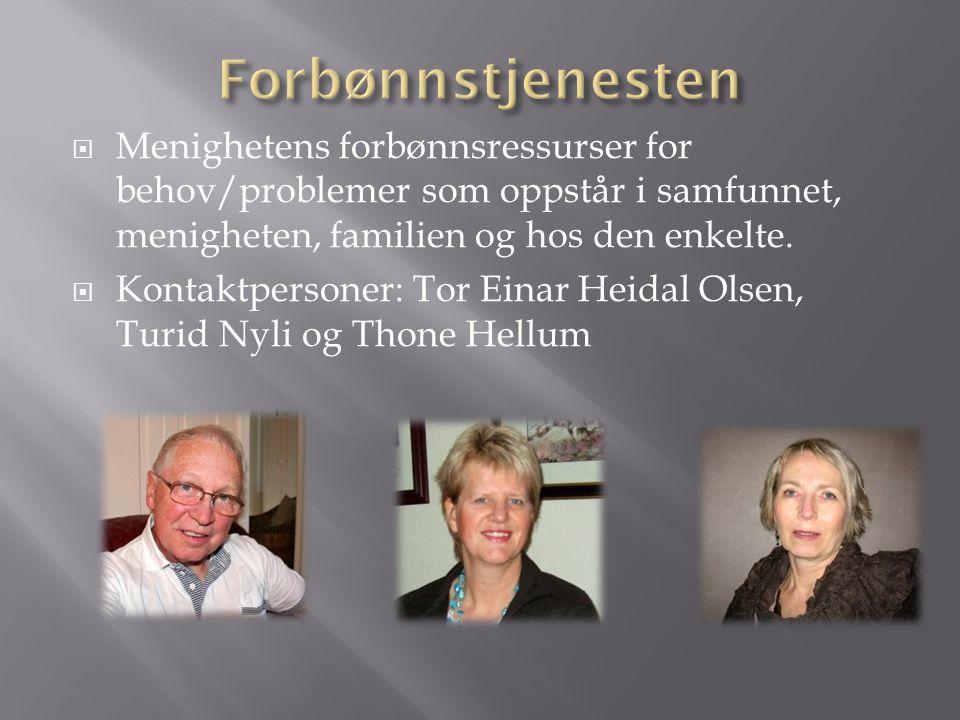  Menighetens forbønnsressurser for behov/problemer som oppstår i samfunnet, menigheten, familien og hos den enkelte.  Kontaktpersoner: Tor Einar Hei