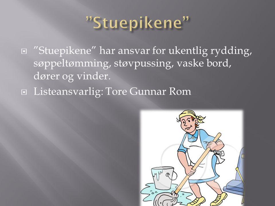 """ """"Stuepikene"""" har ansvar for ukentlig rydding, søppeltømming, støvpussing, vaske bord, dører og vinder.  Listeansvarlig: Tore Gunnar Rom"""