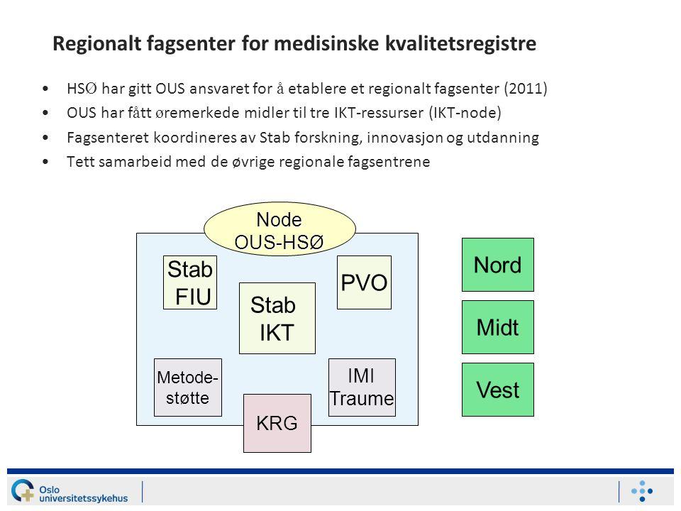 Regionalt fagsenter for medisinske kvalitetsregistre •HS Ø har gitt OUS ansvaret for å etablere et regionalt fagsenter (2011) •OUS har f å tt ø remerk