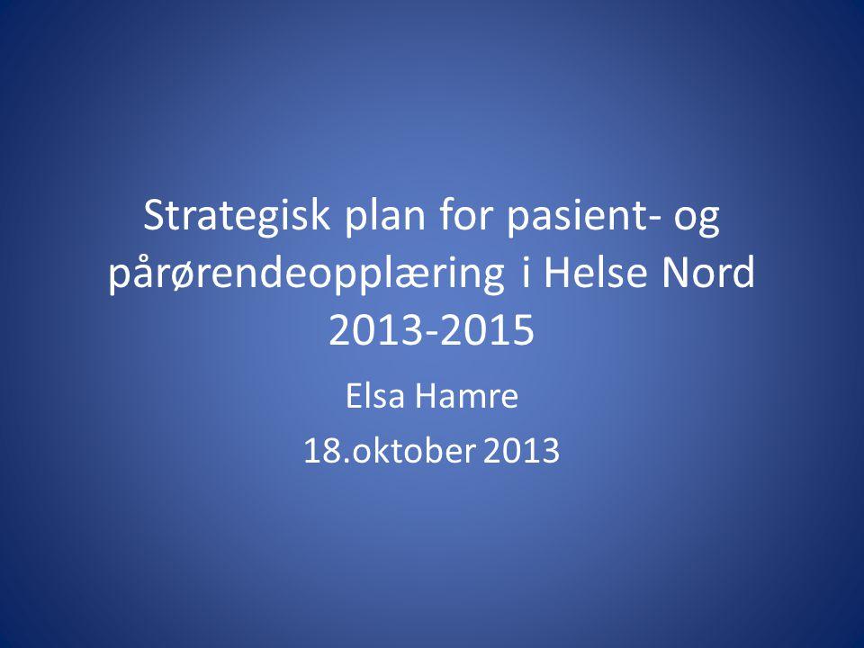 Strategisk plan for pasient- og pårørendeopplæring i Helse Nord 2013-2015 Elsa Hamre 18.oktober 2013