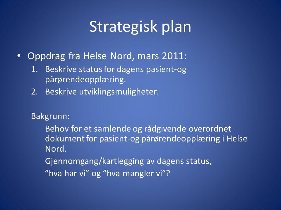 Strategisk plan • Oppdrag fra Helse Nord, mars 2011: 1.Beskrive status for dagens pasient-og pårørendeopplæring. 2.Beskrive utviklingsmuligheter. Bakg
