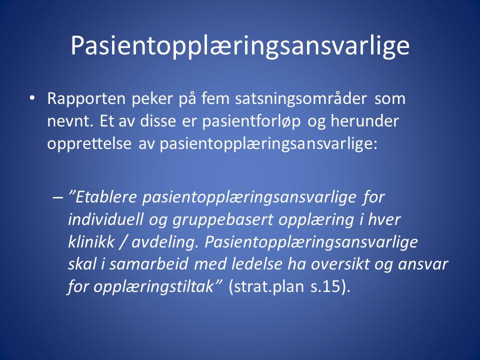 Oppdragsdokument 2013 Helseforetakene skal blant annet: • Følge opp regional strategiplan for pasient- og pårørendeopplæring.