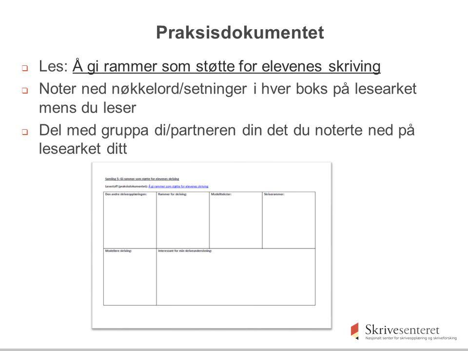 Skriveramme for strukturering av innhold (tematiske avsnitt)