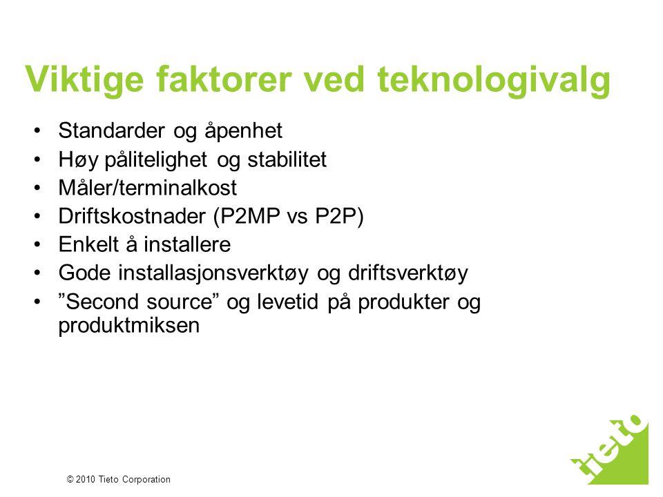 © 2010 Tieto Corporation Viktige faktorer ved teknologivalg •Standarder og åpenhet •Høy pålitelighet og stabilitet •Måler/terminalkost •Driftskostnade