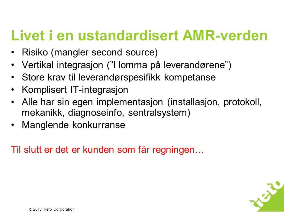 """© 2010 Tieto Corporation Livet i en ustandardisert AMR-verden •Risiko (mangler second source) •Vertikal integrasjon (""""I lomma på leverandørene"""") •Stor"""