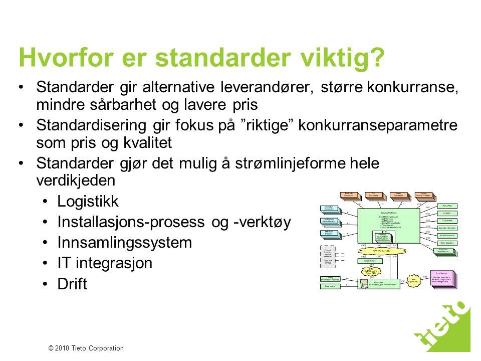 © 2010 Tieto Corporation Hvorfor er standarder viktig? •Standarder gir alternative leverandører, større konkurranse, mindre sårbarhet og lavere pris •