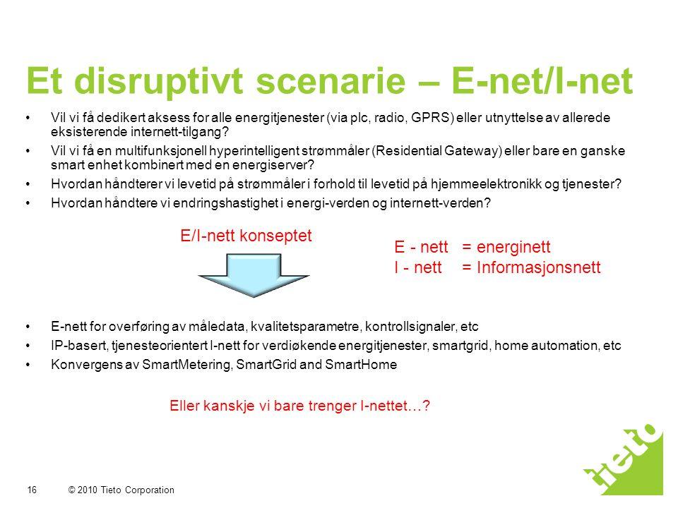 © 2010 Tieto Corporation Et disruptivt scenarie – E-net/I-net 16 •Vil vi få dedikert aksess for alle energitjenester (via plc, radio, GPRS) eller utnyttelse av allerede eksisterende internett-tilgang.