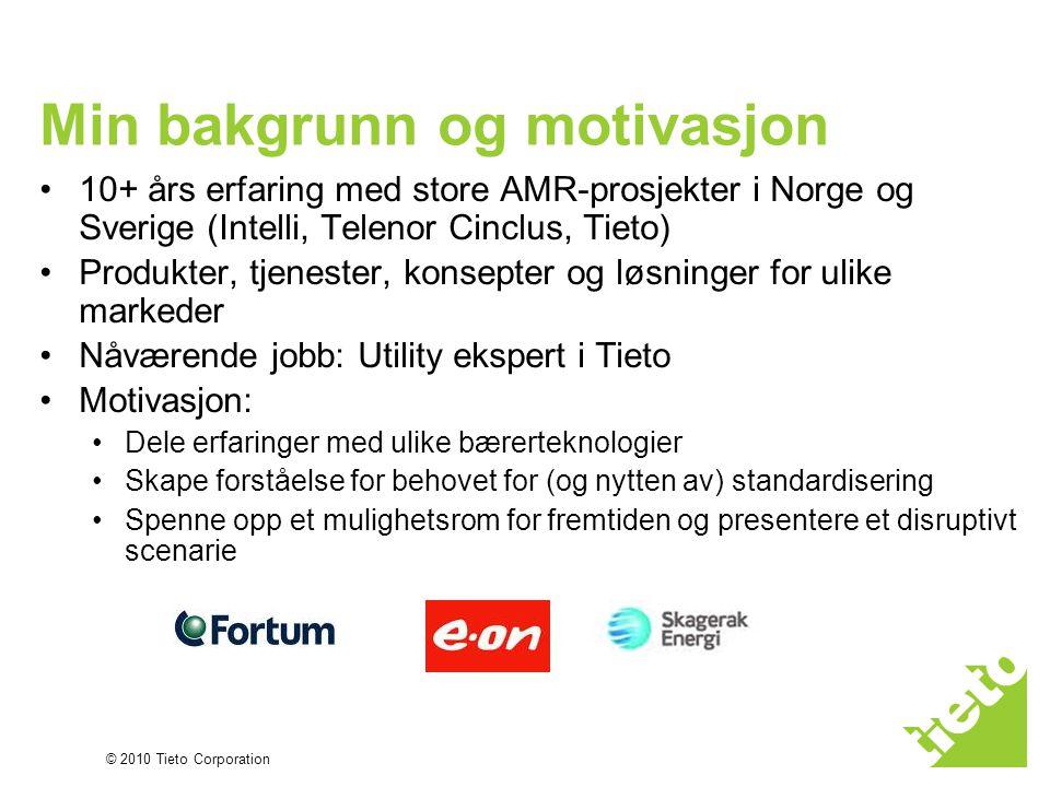 © 2010 Tieto Corporation Min bakgrunn og motivasjon •10+ års erfaring med store AMR-prosjekter i Norge og Sverige (Intelli, Telenor Cinclus, Tieto) •P