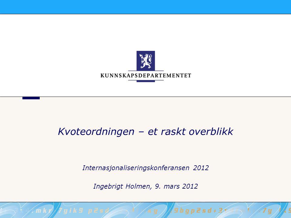 Kvoteordningen – et raskt overblikk Internasjonaliseringskonferansen 2012 Ingebrigt Holmen, 9. mars 2012