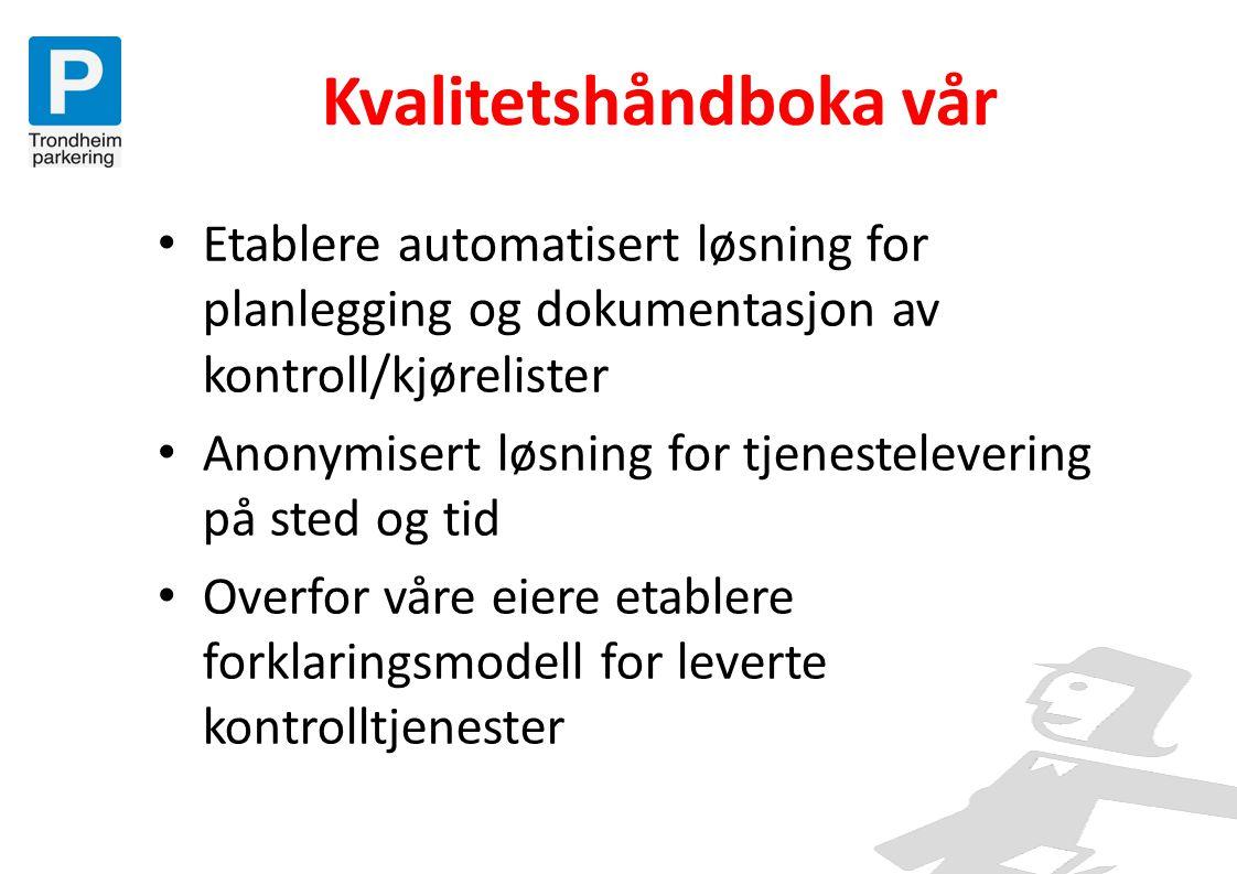 Kvalitetshåndboka vår • Etablere automatisert løsning for planlegging og dokumentasjon av kontroll/kjørelister • Anonymisert løsning for tjenestelever