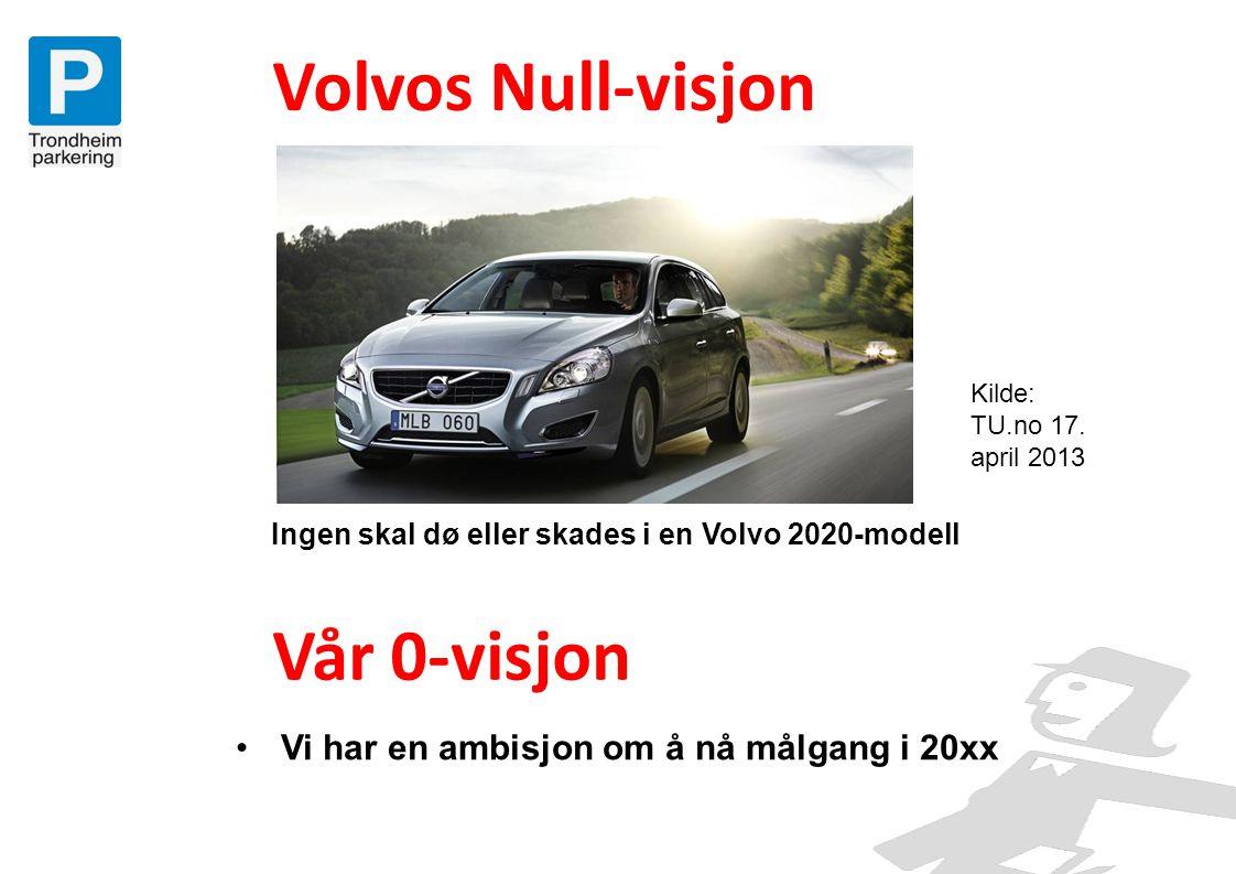 Volvos Null-visjon Ingen skal dø eller skades i en Volvo 2020-modell Vår 0-visjon Kilde: TU.no 17. april 2013 •Vi har en ambisjon om å nå målgang i 20