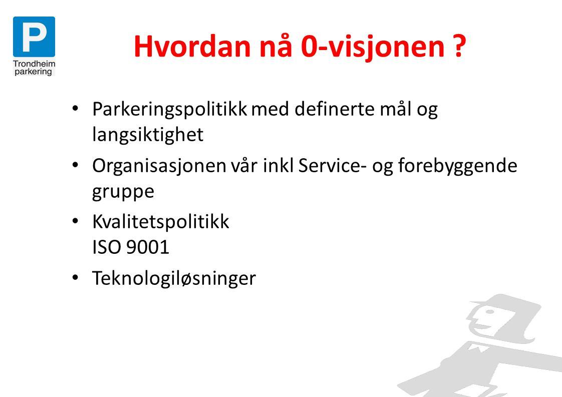 Hvordan nå 0-visjonen ? • Parkeringspolitikk med definerte mål og langsiktighet • Organisasjonen vår inkl Service- og forebyggende gruppe • Kvalitetsp