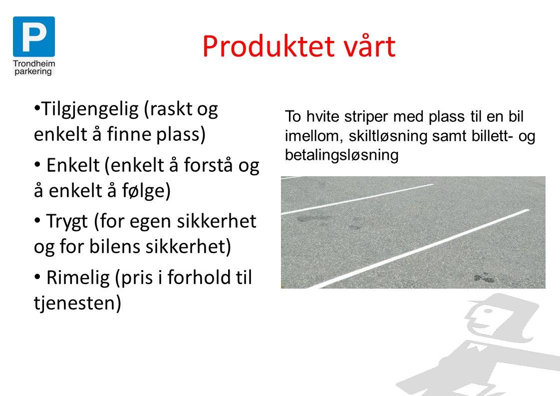 Produktet vårt • Tilgjengelig (raskt og enkelt å finne plass) • Enkelt (enkelt å forstå og å enkelt å følge) • Trygt (for egen sikkerhet og for bilens