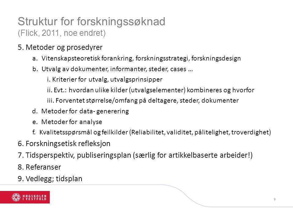 Struktur for forskningssøknad (Flick, 2011, noe endret) 5. Metoder og prosedyrer a.Vitenskapsteoretisk forankring, forskningsstrategi, forskningsdesig