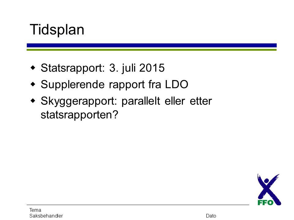 Tema SaksbehandlerDato Tidsplan  Statsrapport: 3. juli 2015  Supplerende rapport fra LDO  Skyggerapport: parallelt eller etter statsrapporten?