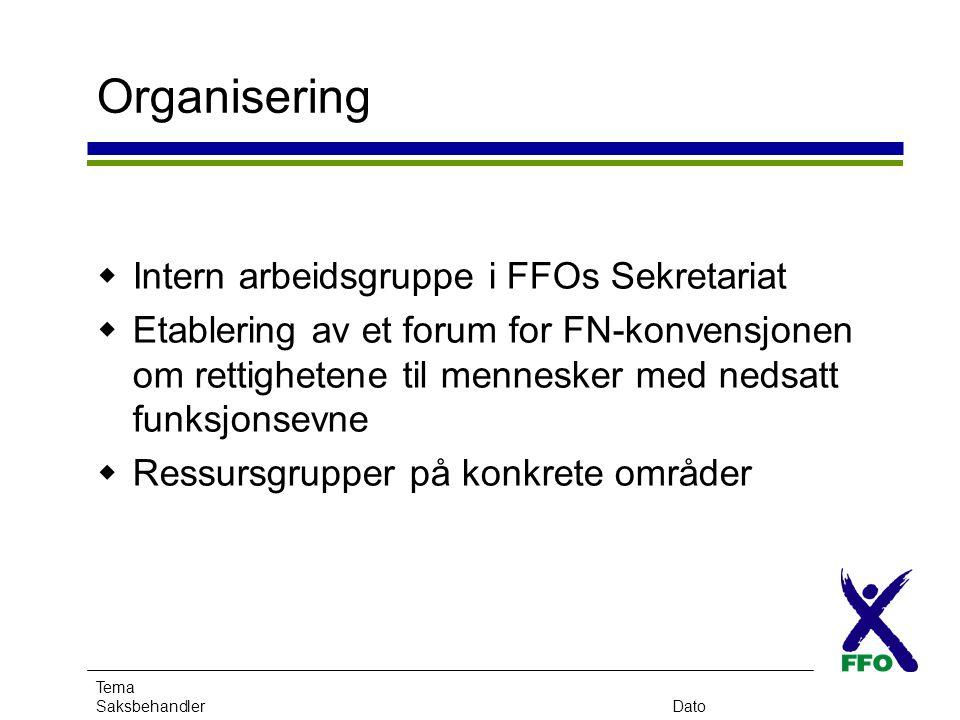 Tema SaksbehandlerDato Organisering  Intern arbeidsgruppe i FFOs Sekretariat  Etablering av et forum for FN-konvensjonen om rettighetene til mennesk