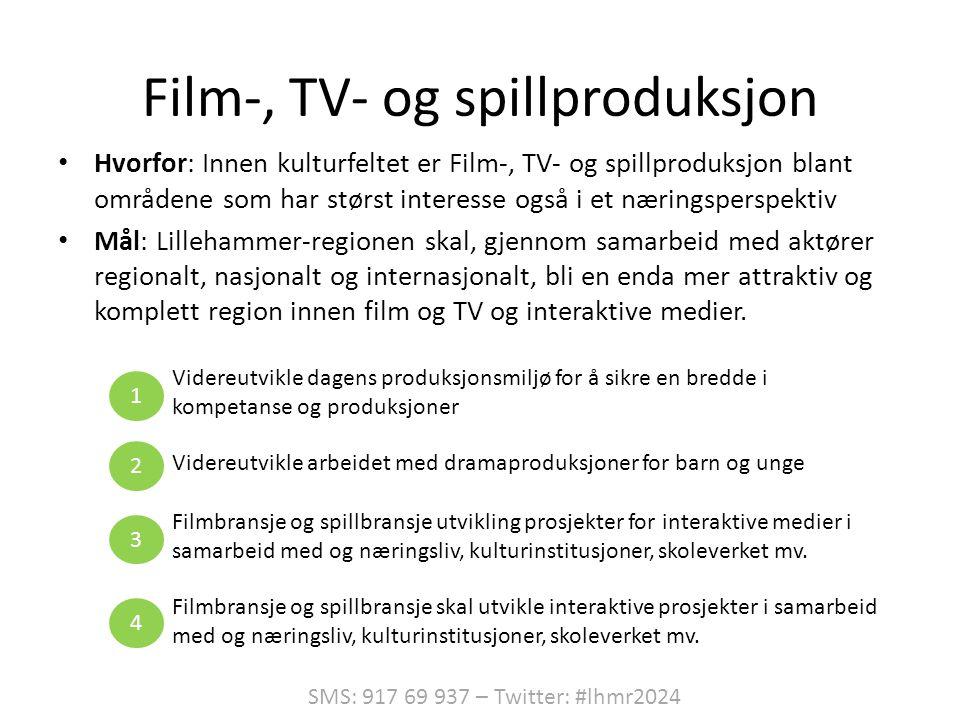 Film-, TV- og spillproduksjon • Hvorfor: Innen kulturfeltet er Film-, TV- og spillproduksjon blant områdene som har størst interesse også i et næringsperspektiv • Mål: Lillehammer-regionen skal, gjennom samarbeid med aktører regionalt, nasjonalt og internasjonalt, bli en enda mer attraktiv og komplett region innen film og TV og interaktive medier.