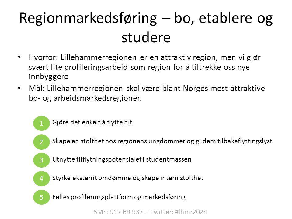 Regionmarkedsføring – bo, etablere og studere • Hvorfor: Lillehammerregionen er en attraktiv region, men vi gjør svært lite profileringsarbeid som region for å tiltrekke oss nye innbyggere • Mål: Lillehammerregionen skal være blant Norges mest attraktive bo- og arbeidsmarkedsregioner.