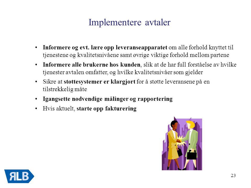 23 Implementere avtaler • Informere og evt.