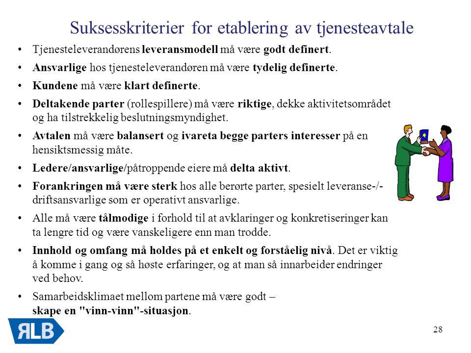 28 Suksesskriterier for etablering av tjenesteavtale • Tjenesteleverandørens leveransmodell må være godt definert.
