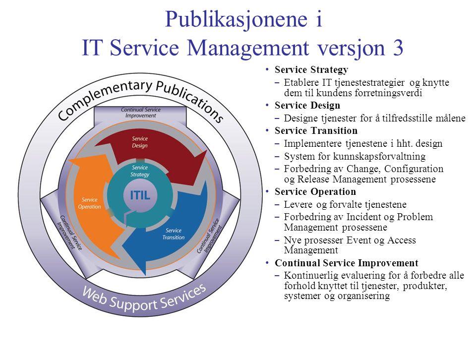 Publikasjonene i IT Service Management versjon 3 • Service Strategy – Etablere IT tjenestestrategier og knytte dem til kundens forretningsverdi • Service Design – Designe tjenester for å tilfredsstille målene • Service Transition – Implementere tjenestene i hht.