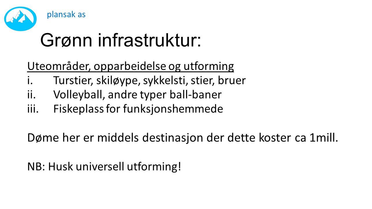 Grønn infrastruktur: Uteområder, opparbeidelse og utforming i.Turstier, skiløype, sykkelsti, stier, bruer ii.Volleyball, andre typer ball-baner iii.Fi
