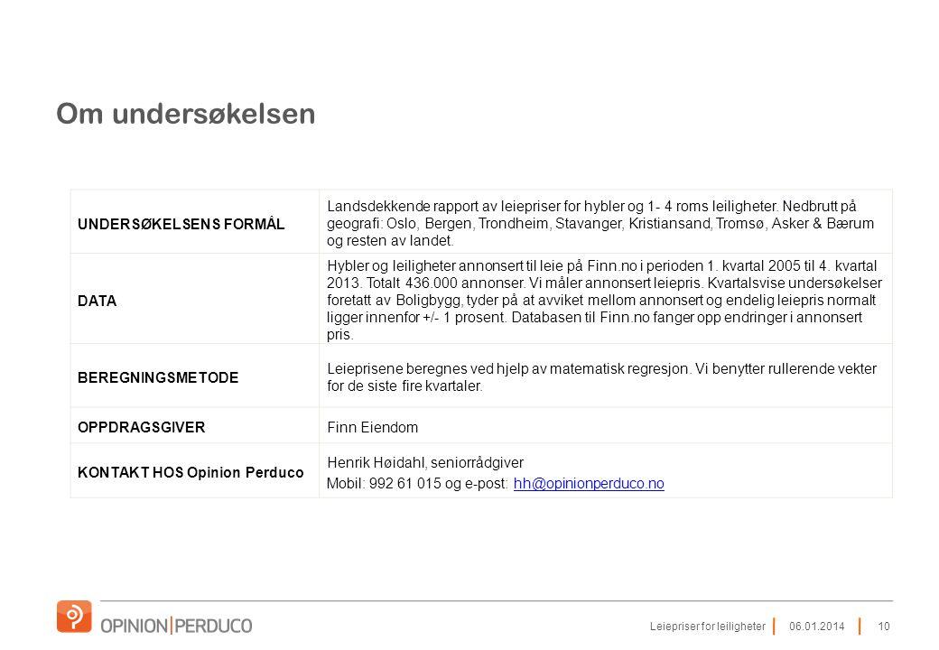 Om undersøkelsen UNDERSØKELSENS FORMÅL Landsdekkende rapport av leiepriser for hybler og 1- 4 roms leiligheter. Nedbrutt på geografi: Oslo, Bergen, Tr