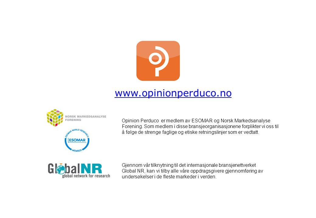 www.opinionperduco.no Opinion Perduco er medlem av ESOMAR og Norsk Markedsanalyse Forening. Som medlem i disse bransjeorganisasjonene forplikter vi os