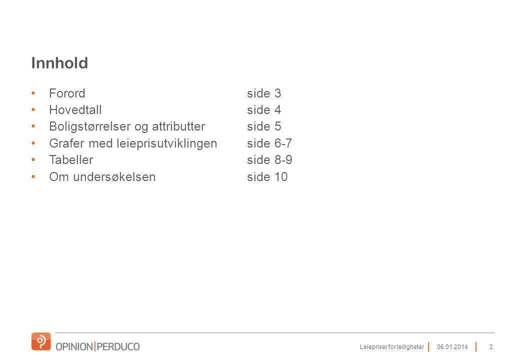 Innhold •Forordside 3 •Hovedtallside 4 •Boligstørrelser og attributterside 5 •Grafer med leieprisutviklingenside 6-7 •Tabellerside 8-9 •Om undersøkelsenside 10 206.01.2014Leiepriser for leiligheter