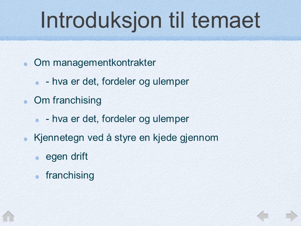 Introduksjon til temaet Om managementkontrakter - hva er det, fordeler og ulemper Om franchising - hva er det, fordeler og ulemper Kjennetegn ved å styre en kjede gjennom egen drift franchising