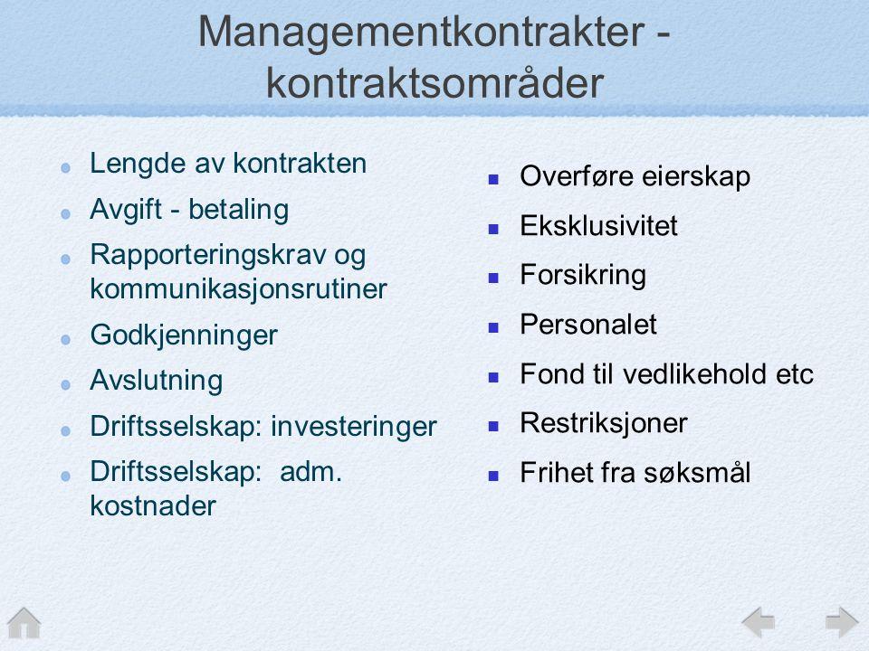 Managementkontrakter - kontraktsområder Lengde av kontrakten Avgift - betaling Rapporteringskrav og kommunikasjonsrutiner Godkjenninger Avslutning Driftsselskap: investeringer Driftsselskap: adm.