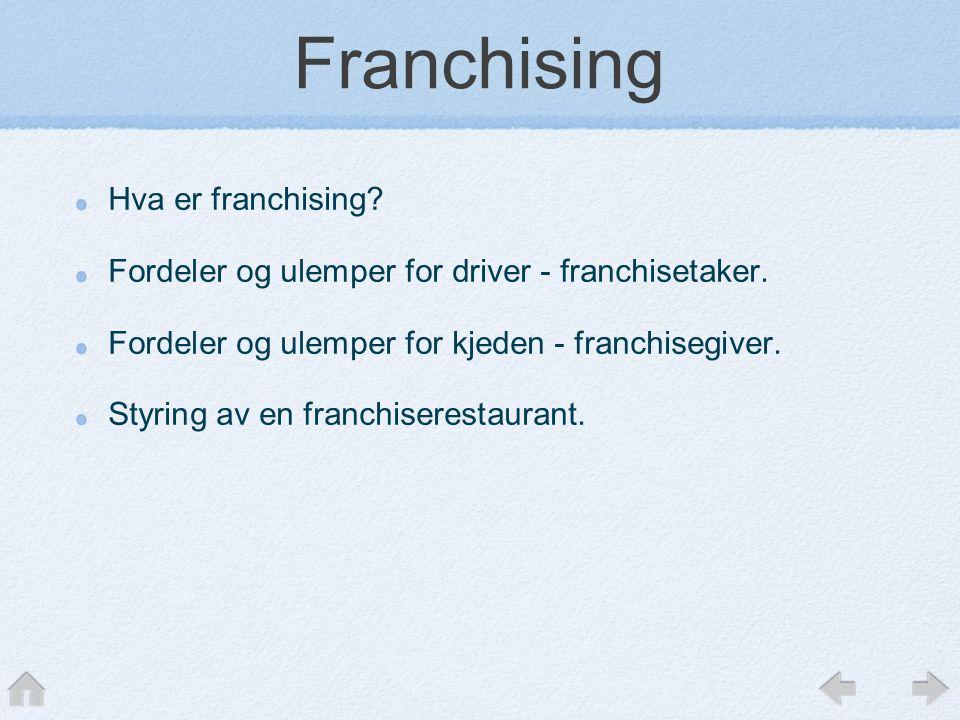 Franchising Hva er franchising.Fordeler og ulemper for driver - franchisetaker.
