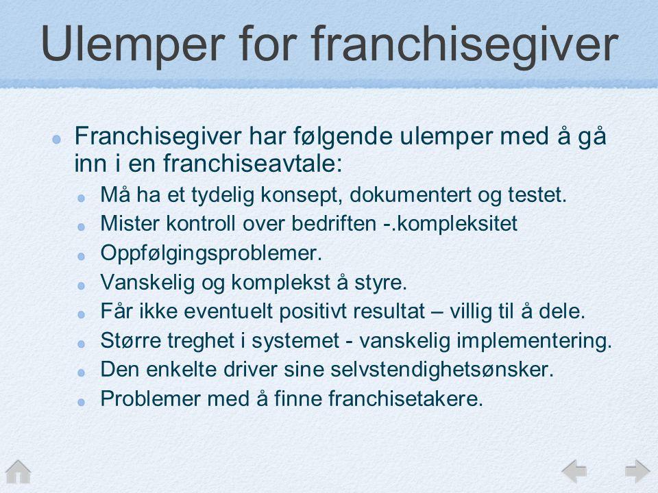 Ulemper for franchisegiver Franchisegiver har følgende ulemper med å gå inn i en franchiseavtale: Må ha et tydelig konsept, dokumentert og testet.