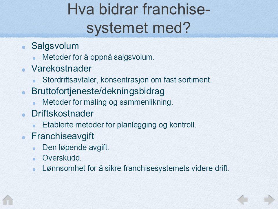 Hva bidrar franchise- systemet med.Salgsvolum Metoder for å oppnå salgsvolum.