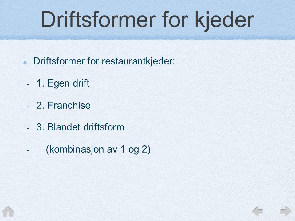 Driftsformer for kjeder Driftsformer for restaurantkjeder: • 1.