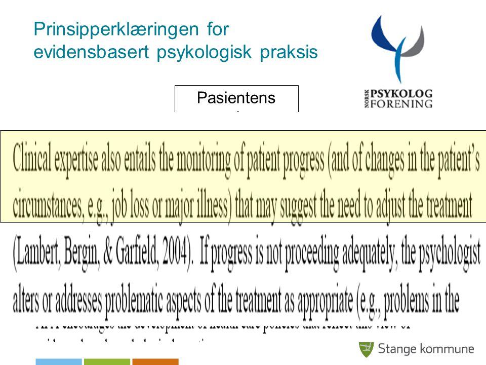Klinisk ekspertise Prinsipperklæringen for evidensbasert psykologisk praksis Beste forskninsevidens Pasientens egenskaper, verdier og kontekst