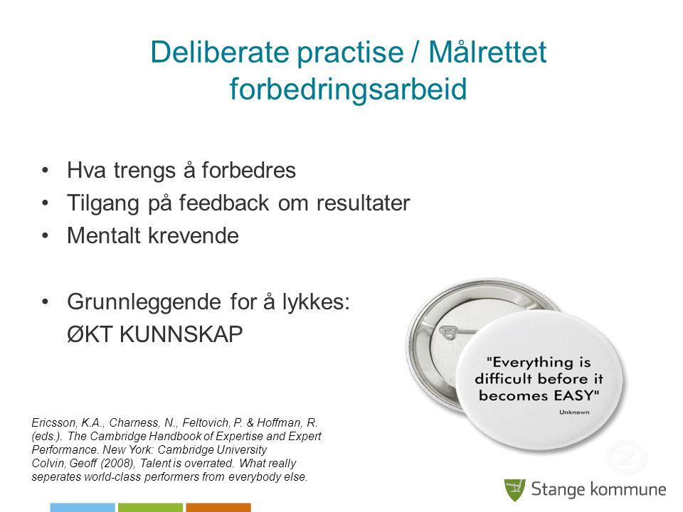 Deliberate practise / Målrettet forbedringsarbeid •Hva trengs å forbedres •Tilgang på feedback om resultater •Mentalt krevende •Grunnleggende for å ly