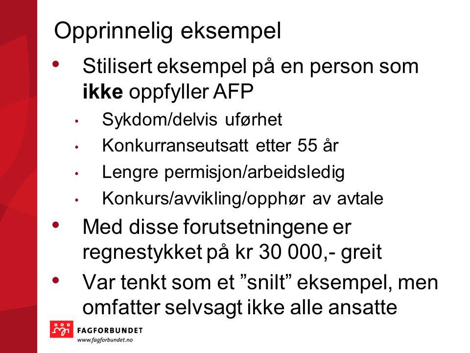 Opprinnelig eksempel • Stilisert eksempel på en person som ikke oppfyller AFP • Sykdom/delvis uførhet • Konkurranseutsatt etter 55 år • Lengre permisj